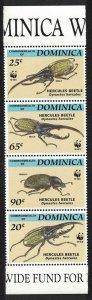 Dominica WWF Hercules Beetle Strip of 4v SG#1799-1802 MI#1804-1807 SC#1647-1650