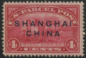 #Q4 VAR. DARRAH SHANGHAI CHINA OVERPRINT VF-XF OG LH -- RARE -- HV9535
