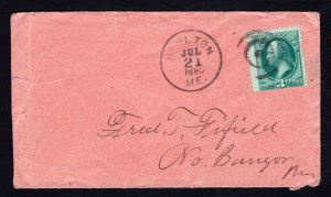 US COVER 3 CENT BANKNOTE HOULTON ME 1880 SOTN BULLSEYE DUPLEX CANCEL