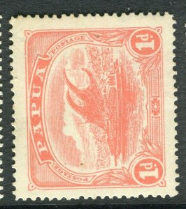 PAPUA; 1911-15 early Lakatoi issue Mint hinged 1d. value