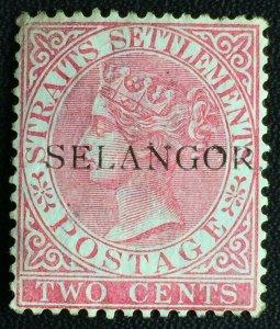 MALAYA 1887 SELANGOR opt Straits Settlements QV 2c MH WITH STOP SG#36 M2453