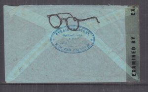 BOLIVIA, 1942 Airmail Censored cover (Spectacles) La Paz to USA, 1b, 3b(2), 9b,