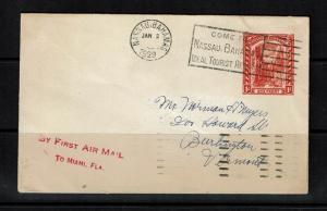 Bahamas - 1929 First Flight to Miami on Postal Stationary - 091717