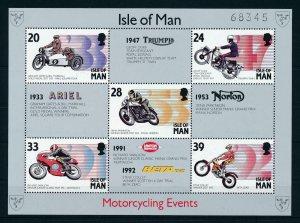 [73173] Isle of Man 1993 Sport motorracing motorcycle Souvenir Sheet MNH