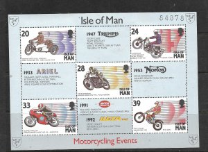 ISLE OF MAN, 566, MNH, SS, MOTORCYCLES