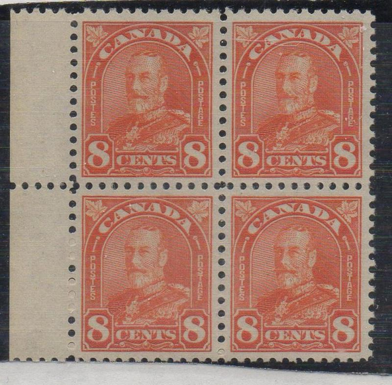 Canada Sc 172 1930 8c red orange George V block of 4 mint NH
