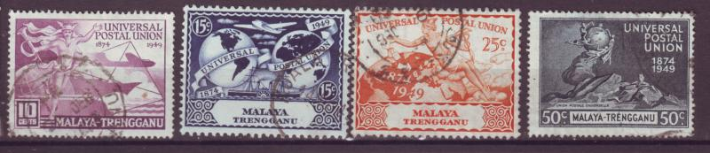J18011 JLstamps  [low price] 1949 malaya trengganu set used #49-52 upu