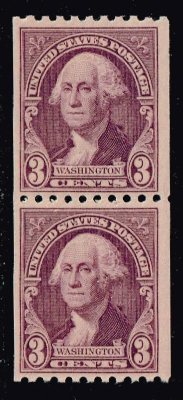 US STAMP #722 – 1932 3c Washington, deep violet, horizontal perf 10 MNH PAIR