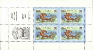 Tuvalu #150, Complete Set, Sheet of 4 + Label, 1981, Marine Life, Never Hinged