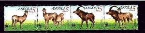Angola 781-84 MNH 1990 W.W.F. strip of 4 (been folded)