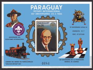 Paraguay 1985 Sc#594 CHESS FEDERATION 60th.Anniv/SPACE/ROTARY S/S (1) MNH