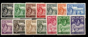 TURKS & CAICOS ISLANDS SG194/205 1938 DEFINITIVE SET MTD MINT