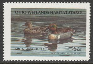 U.S.-OHIO 3, STATE DUCK HUNTING PERMIT STAMP. MINT, NH. VF