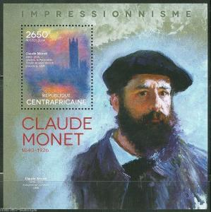 CENTRAL AFRICA  IMPRESSIONISM CLAUDE MONET  PAINTINGS  S/S  MINT NH