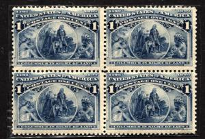 USA SC# 230 Block of 4 Stamps Postage Columbus in Sight of Land 1893 MINT NH OG