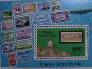 CENTRAL AFRICAN:  1977- ZIPPLINS STAMPS ON STAMP-S/S-CTO-NH-SHEET LAST ONE.