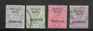India Convention States Patiala #O29-O32 Used Single