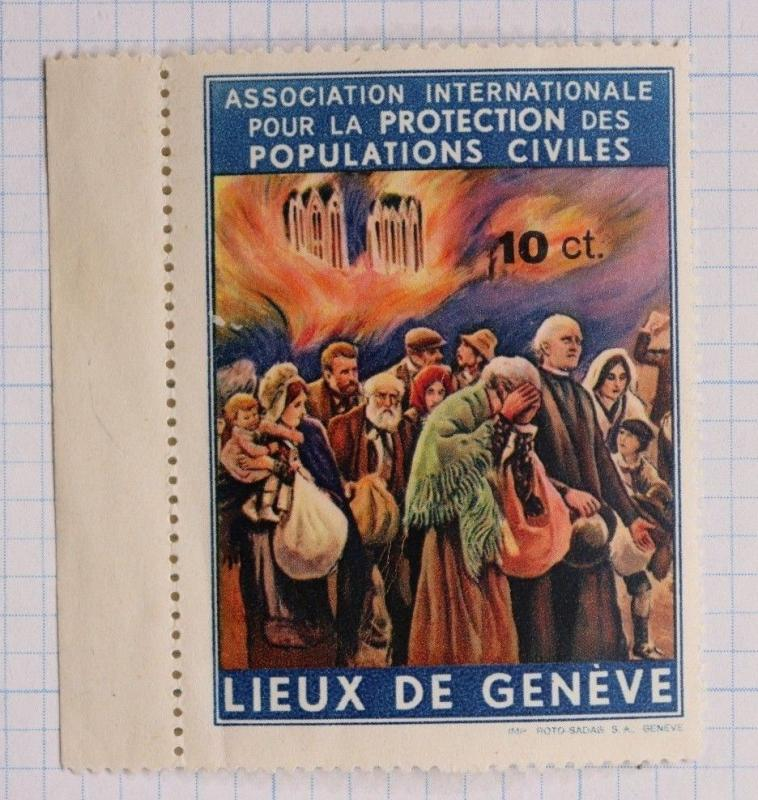 Poverty protection civilian population Geneva 10c Poor charity Poster Stamp DL