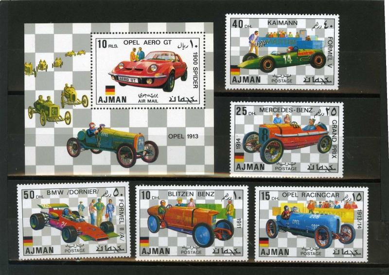 AJMAN 1971 Mi#Bl.1117-1121A, Bl.320A OLD CARS SET OF 5 STAMPS & S/S PERF.MNH