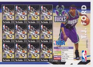 Gambia 2004 T.J. Ford Milwaukee Bucks Texas NBA Basketball Players Sports Stamps