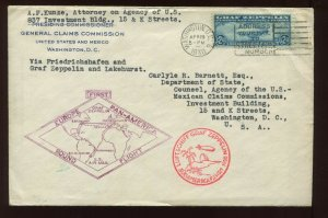 C15 Graf Zeppelin  FIRST DAY COVER APR 19 1930 TO DEPT OF STATE (Lot 1141 B)