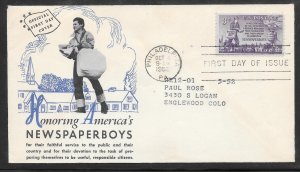 Just Fun Covers #1015 FDC Newspaper Boys Unknown Cachet (my3571)