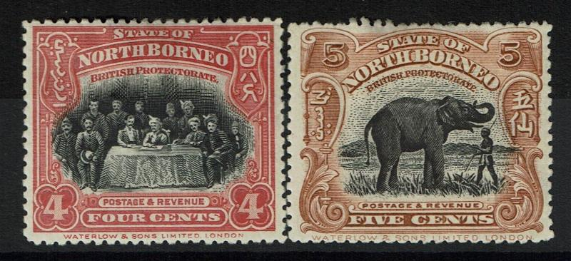 North Borneo SG# 54 and 55, Mint Hinged, Hinge Remnant -  Lot 022617