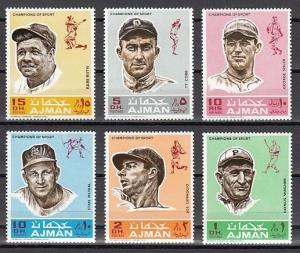 Ajman, Mi cat. 388-393 A. Baseball, Sports issue.