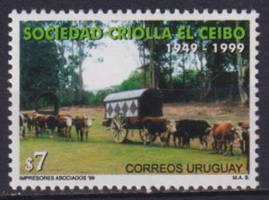 Uruguay 1999 The 50th Anniversary of El Ceibo  (MNH)  - Horses, Carts