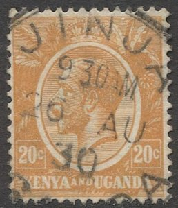 KENYA & UGANDA 1922 Sc 25  20c Used VF, JINJA postmark/cancel