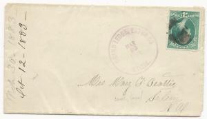 US Scott #207 on Cover Grand Ledge, Eaton co, MI March 20, 1883