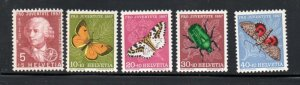 Switzerland Sc B267-71 1957 Pro Juventute Insects stamp set mint NH