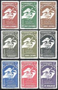 Venezuela C284-C292, MNH. UPU, 75th anniv. Symbols of Global Air Mail, 1950