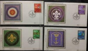 1982 Guernsey Anni Boy Scouts Cub Air Sea Land Scouts Benham FDC BGS3a-d