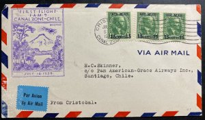 1929 Cristobal Canal Zone First Flight Airmail Cover FFC To Santiago Chile