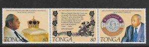 TONGA, 820, MNH,STRIP OF 3, CORONATION