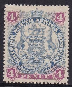 RHODESIA 1897 ARMS 4D CURLED SCROLL