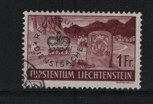 LIECHTENSTEIN O28 Used, 1937-41 Regular Issue Overprinted