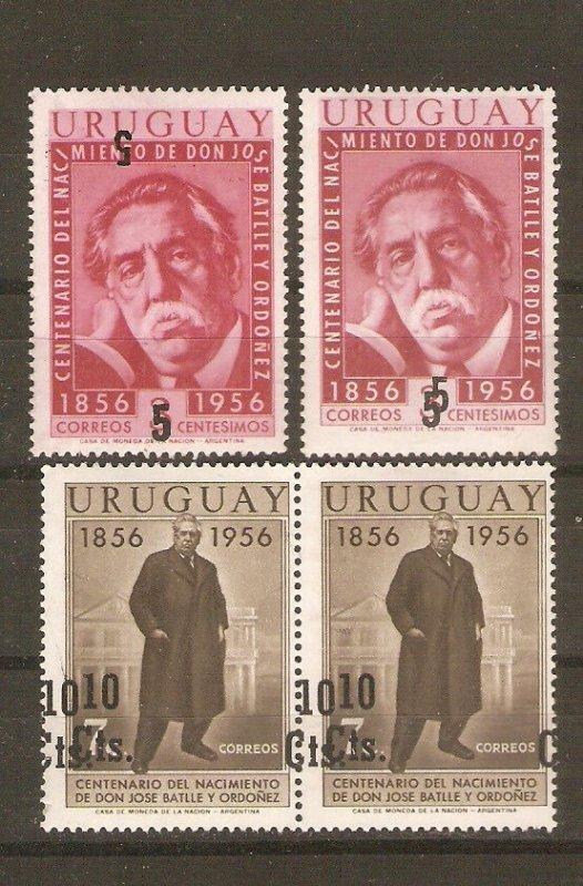 Uruguay 1957 José Batlle y Ordonez centenary, with errors