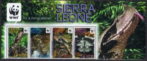 Sierra Leone WWF Forest Puff Adder Top strip of 4v with WWF Logo