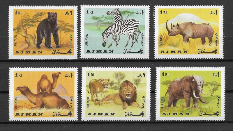 Ajman MNH Set Of 6 African Animals MUST SEE!!!!!