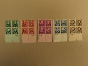 USPS Scott 869-73 American Educators Lot Of 5 1940 Plate ...