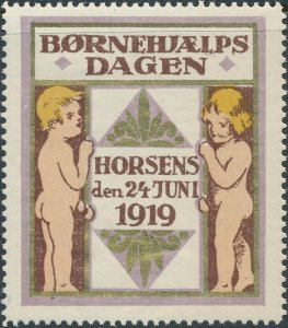 Stamp Label Denmark 1919 Horsens Poster Børnehjælpsdagen Child Welfare MNH