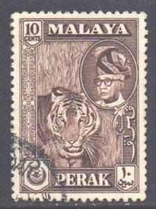 Malaya Perak Scott 132 - SG155, 1957 Elizabeth II 10c Brown used