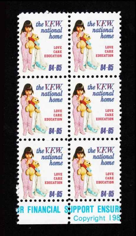 1984-85 VFW NATIONAL HOME ⭐ LOVE CARE EDUCATION ⭐ BLOCK OF 6 MNH-OG