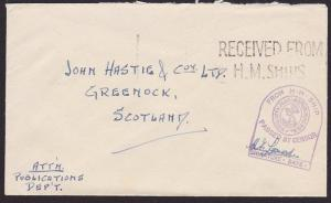 GB WW2 censor cover to Scotland RECEIVED FROM H M SHIPS.....................2870