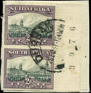 South Africa Scott #36 Vertical Plate Number Pair  Used  on Paper