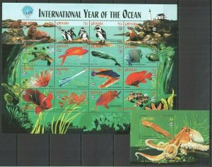 U0273 GRENADA FAUNA MARINE LIFE INTERNATIONAL YEAR OF THE OCEAN SH+BL FIX