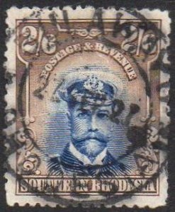 Southern Rhodesia 1924 2/6d blue and sepia used