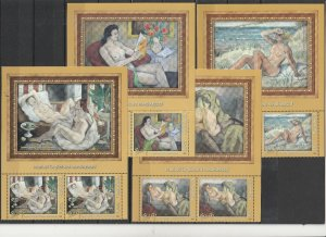 ROMANIA 2020 STAMPS NUDES PAINTINGS MNH POST HALF SHEETS LABEL